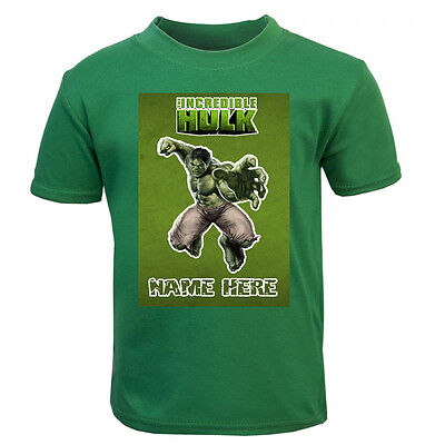 New Personalised Green Hulk Movie T-Shirt Boys Girls Top Age Size gift kids cute