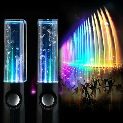 Water Dancing Fountain USB Speakers Stereo Set Tablets Mobiles PC Laptops Black