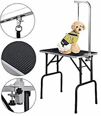 """Pet Grooming Table 32"""" Adjustable Large Rubber W/Arm&Noose Foldable Portable"""