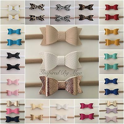6 NEW COLOURS Baby Girls Newborn Leather Bow Nylon Headband Hair Rose Accessory