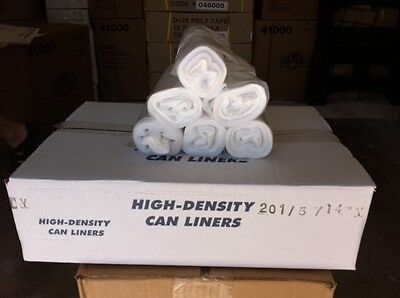 "400pcs 7-10gal  High Density Trash Can Liner bags Natural 24""x24"" 6 micron"