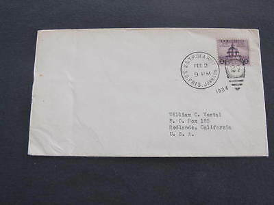 S.S. President Johnson U.S.T.P. Sea Post 1934 Ship Shipping Line Mail Cover