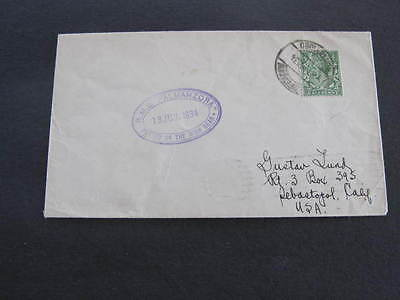 Ship R.M.S. Almanzora 1934 Shipping Mail Cover Posted on high Seas Montivideo