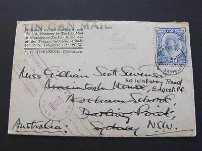 Tin Can Mail Cover Tonga 1934 to Sydney incl Oceanic Line card SS Monterey