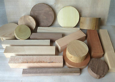Woodturning Blank Starter Pack - Mixed Selection for Beginners Bowl & Squares