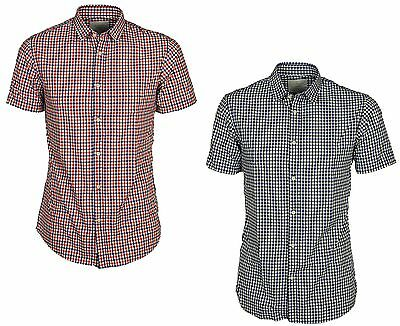 Jack & Jones Mens Short Sleeve Shirts Casual Slim Fit Check Size S,M,L,XL