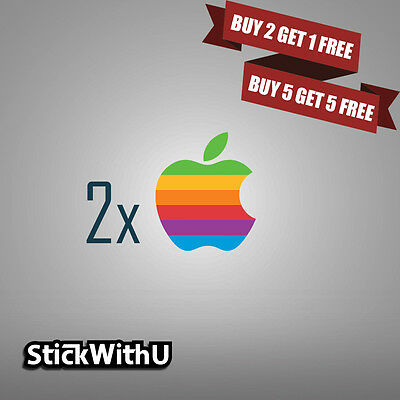 2x MacBook Decal Retro Apple Logo Sticker Air Pro Retina Vinyl Rainbow 2xLG01