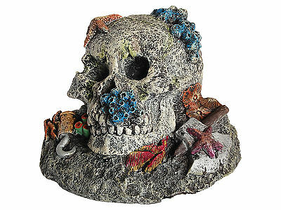 Pirate Skull with Axe & Hook Aquarium Ornament Fish Tank Decoration
