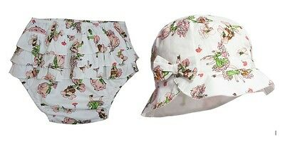 Powellcraft Cotton White Rose Sun Hat /& Knickers Toddler 1-3 years Baby Girls