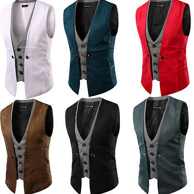Hot Mens Party Formal Casual Classic Dinner Suit Business Vest Wedding Waistcoat