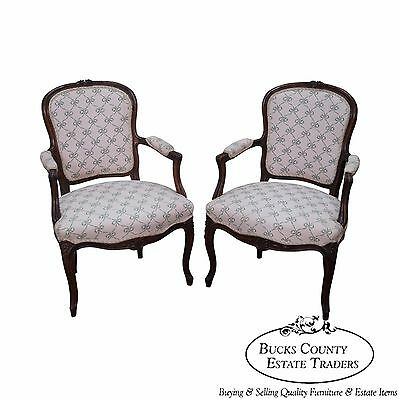Antique French Louis XV Style Pair of Fauteuils Arm Chairs