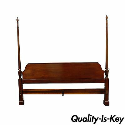 Vintage Baker Furniture Mahogany King Size Sz Poster Bed Traditional Headboard