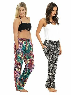 Womens Full Length Beach Trousers Lightweight Patterned Casual Pants Ladies Size
