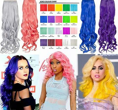 """New Bright Colour Curly One Piece Clip In Hair Extensions Koko 20"""" 9 Colours G1C"""