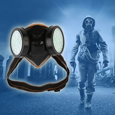 Protection Filter Double Gas Mask Chemical Gas Respirator Face Mask Goggles GT