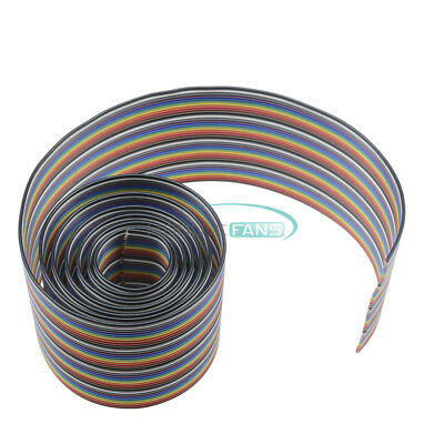 1M 3.3ft 40 Way 40 Pin Flat Color Rainbow Ribbon IDC Wire Rainbow Cable New