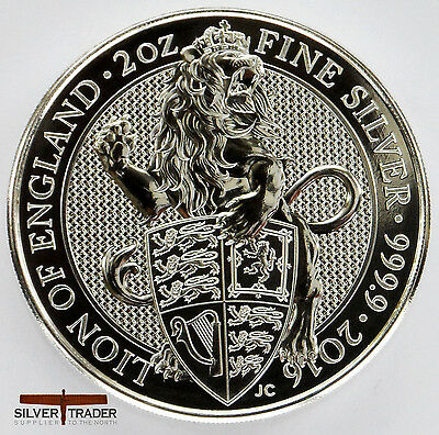 2016 2oz Queens Beasts Lion of England 2 ounce Silver Bullion Coin unc: