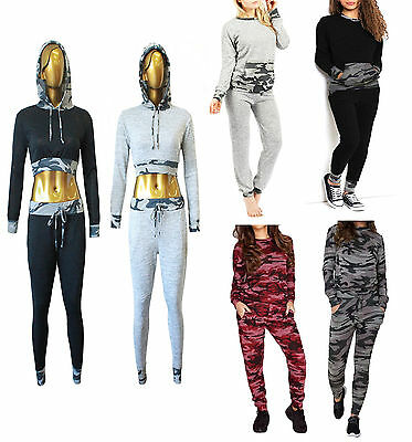 Womens Ladies Camouflage Army Print Loungewear Tracksuit Set Joggers Pants 8-26