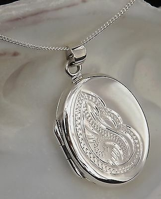 Solid Sterling Silver 925 Patterned Oval Locket Pendant 18 Inch Chain Necklace
