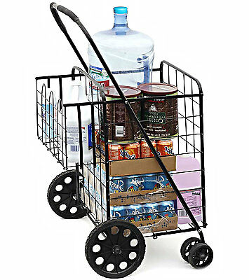 Folding Shopping Utility Cart Jumbo Size Grocery Double Basket Laundry Travel