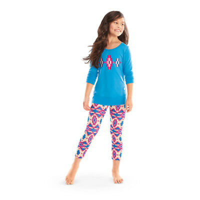 American Girl CL KAYA BLUE PATTERNED PAJAMAS SIZE SMALL 7-8 Girl NEW