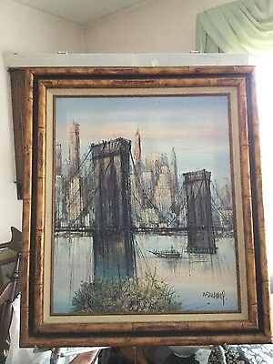 "H DUCHAMP ORIGINAL EARLY PAINTING OF THE ""BROOKLYN BRIDGE"" 20x24"" W/CERTIFICATE"