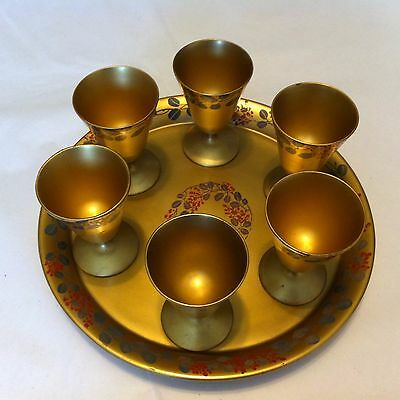 Vintage Japanese Lacquered Wood Hand Painted Gold Saki 6 Cups & Tray
