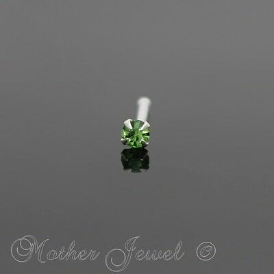 20G Real Solid 925 Sterling Silver 2Mm Peridot Green Nose Ball End Stud Pin Bone