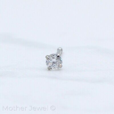 20G Silver Surgical Steel 3Mm Round Simulated Diamond Nose Ball End Stud Bone