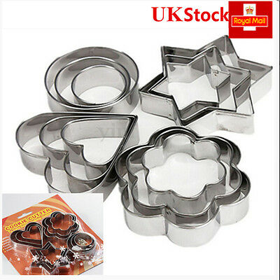 12x Metal Star Cookie Cutter Egg Mold Fondant Cake Sugarcrft Decorating Xmas Set
