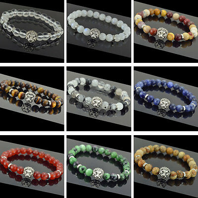 Men/Women's Fashion Natural Beads Lion Head Lucky Energy Stretch Bracelet Yoga