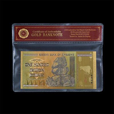 WR Zimbabwe 100 Trillion Dollars Banknote Color 24k Gold Plate Note Collectible