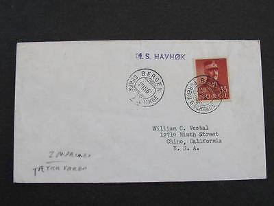 Norway Bergen postmarks Ship MS Havhok Sea Shipping Cover
