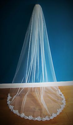 Wedding Veil *Chapel Length*1 Tier*Wide Corded Lace*Bespoke*Ivory/Off white*