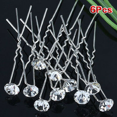 (Pack of 6 pcs) Crystal Rhinestones Hair Pins WD