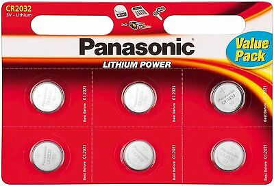 6 x Panasonic CR2032 DL2032 3V Lithium Coin Cell Batteries BEST VALUE 6 PACK