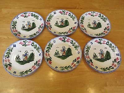 Lot of 6 Blue Ridge French Peasant Southern Potteries Inc. Dessert Pie Plates