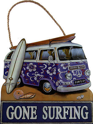 Gone Surfing VW Camper Van 20cm Hanging Wall Plaque - Purple