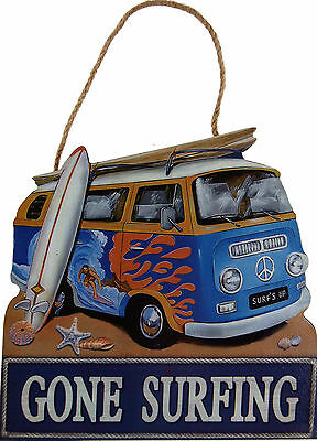 Gone Surfing VW Camper Van 20cm Hanging Wall Plaque - Orange Flame