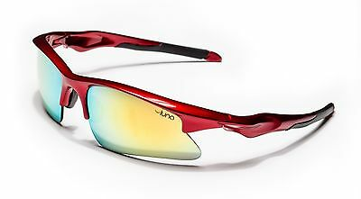 Luna Mars Running Cycling Sunglasses with Hard Case (Gold Revo Lens, Red Frame)