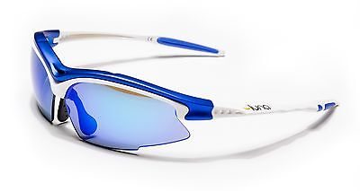 Luna Sky Running Cycling Sunglasses with Hard Protective Case Blue Revo Lenses