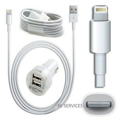 Dual Port Car Charger + Cable For iPhone 5 5s 5c 6 & 6 Plus