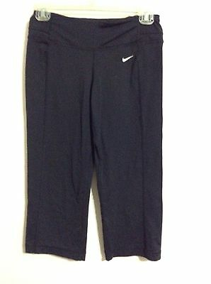 NIKE Fit Dry RUNNING Women's FITTED workout leggings Capri's Yoga Black  XS