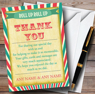 Vintage Carnival Old Style Circus Personalised Wedding Thank You Cards