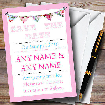 Pink Blue Bunting Shabby Chic Personalised Wedding Save The Date Cards