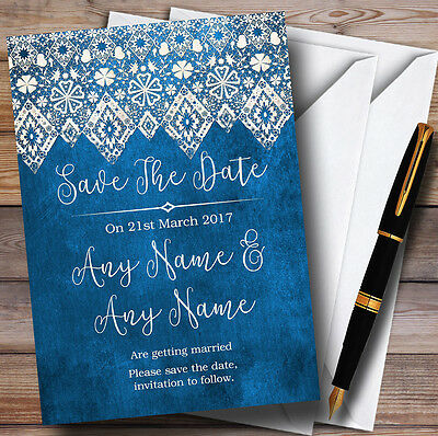 Vintage Blue Old Paper & Vintage Lace Personalised Wedding Save The Date Cards