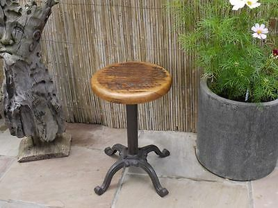 Small Vintage rustic bar kitchen Stool with wooden top
