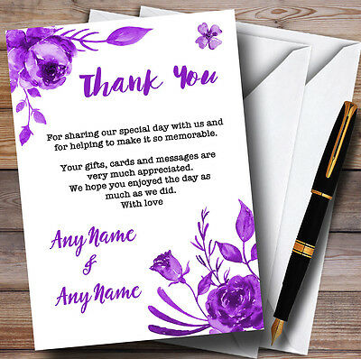 Cadbury Purple & White Watercolour Floral Personalised Wedding Thank You Cards