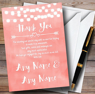 Coral Pink Lights Watercolour Personalised Wedding Thank You Cards