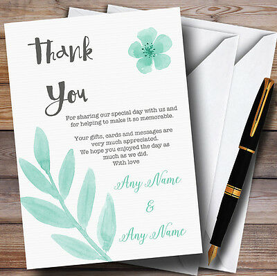 Watercolour Subtle Teal Mint Green Personalised Wedding Thank You Cards